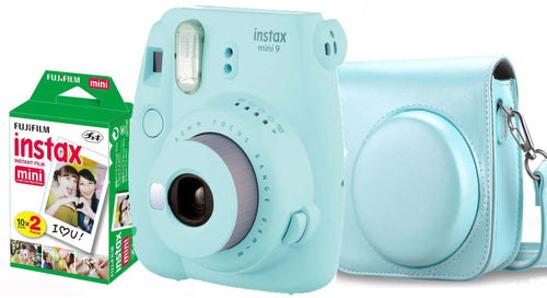 Fujifilm instax mini 9 Instant Film Camera (Ice Blue) with Case & 20 Shots of Film