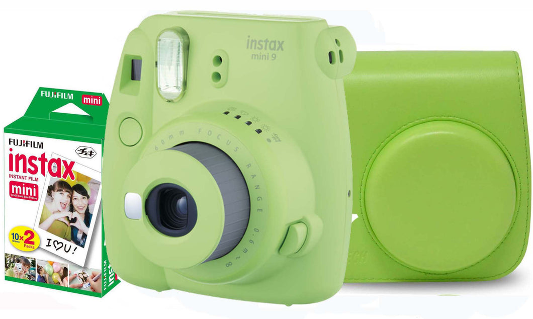 Fujifilm instax mini 9 Instant Film Camera (Lime) with Case & 20 Shots of Film
