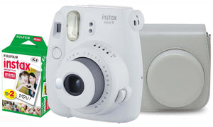 Fujifilm instax mini 9 Instant Film Camera (Smokey White) with Case & 20 Shots of Film