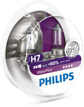 Load image into Gallery viewer, Philips H7 VisionPlus Upgrade Headlight Bulb with up to 60% More Vision, 2 Pack