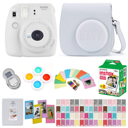 Fujifilm Instax Mini 9 Instant Film Camera - Smokey White - with Matching Personalized Case and 20 Sheets of Film Design Bundle