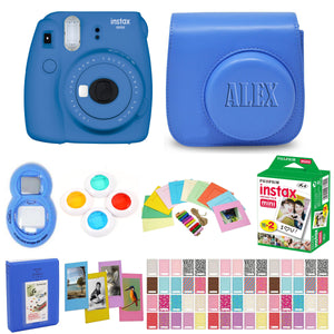 Fujifilm Instax Mini 9 Instant Film Camera - Cobalt - with Matching Personalized Case and 20 Sheets of Film Design Bundle