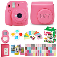 Load image into Gallery viewer, Fujifilm Instax Mini 9 Instant Film Camera - Flamingo Pink with Matching Personalized Case and 20 Sheets of Film Design Bundle