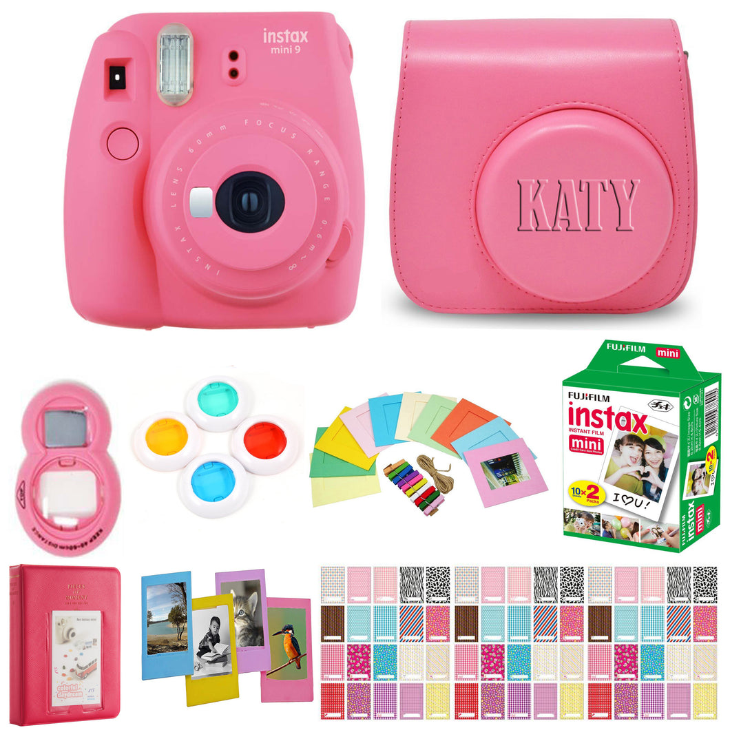 Fujifilm Instax Mini 9 Instant Film Camera - Flamingo Pink with Matching Personalized Case and 20 Sheets of Film Design Bundle