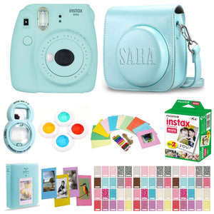 Fujifilm Instax Mini 9 Instant Film Camera - Ice Blue - with Matching Personalized Case and 20 Sheets of Film Design Bundle