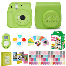 Load image into Gallery viewer, Fujifilm Instax Mini 9 Instant Film Camera - Lime Green - with Matching Personalized Case and 20 Sheets of Film