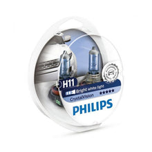 Load image into Gallery viewer, Philips H11 CrystalVision Ultra Upgrade Bright White Headlight Bulb, 2 Pack