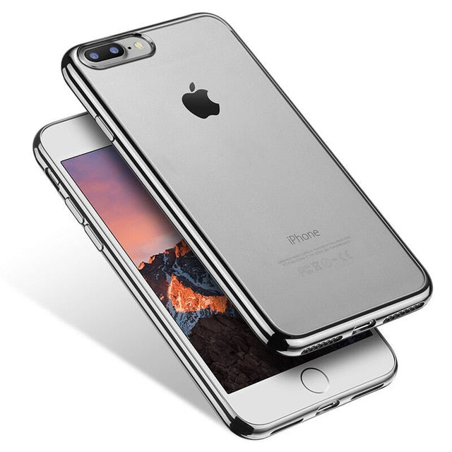 TOMKAS Transparent Case For iPhone 7 8 Plus Cases Silicone Cover Plating TPU Phone Case For iPhone 8 7 Plus Cases Conque