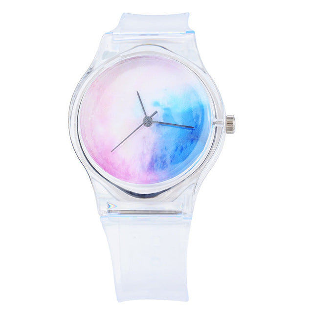 Doreen Box Transparent Starry Sky Quartz Wrist Watches Fashion Trendy Simple Dial Plate Battery Included 23cm long, 1 Piec
