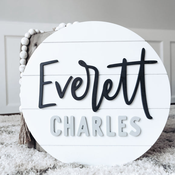 3D Shiplap Nursery Round Sign