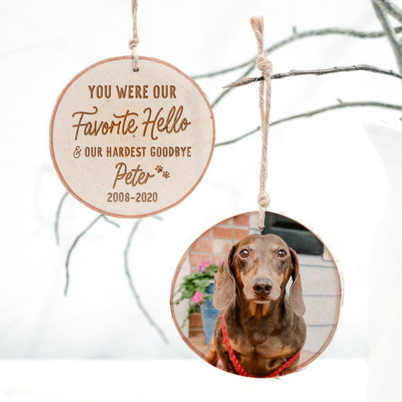 Pet Memorial Wood Slice Photo Ornament