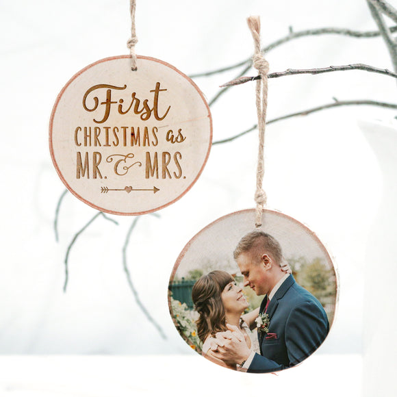 First Christmas as Mr. and Mrs. — Photo Ornament
