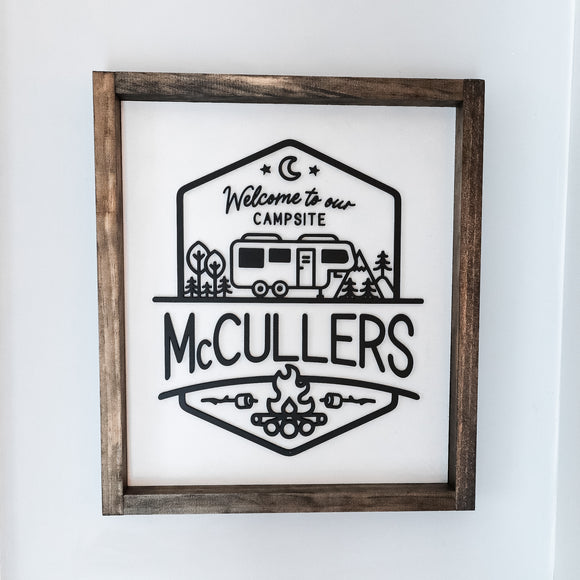 3D Campsite Sign Personalized