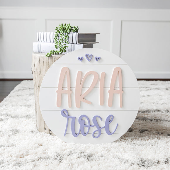 3D Shiplap Nursery Round Sign — Girl