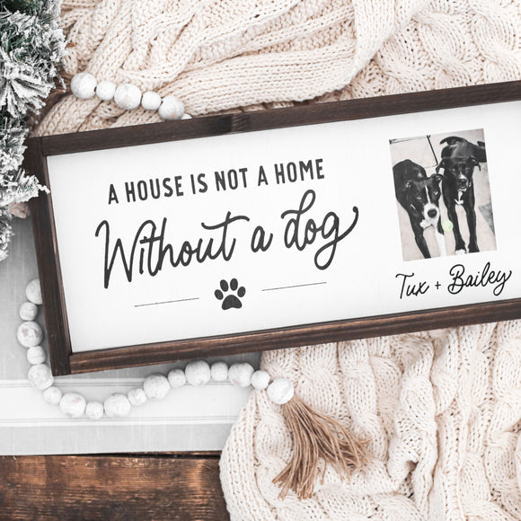 3D Dog Photo Sign — Framed Custom Wood Farmhouse Sign