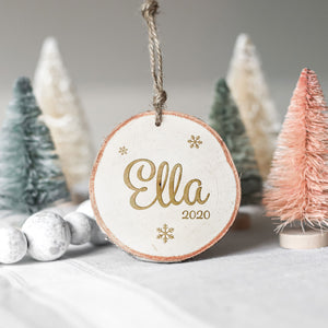Name and Snowflakes Wood Slice Ornament