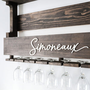 Large Wood Wine Rack —  Personalized with Name 3D