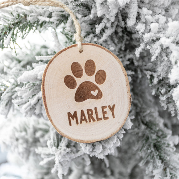 Paw Print and Name Ornament