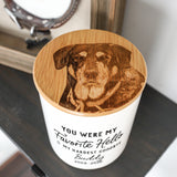 Engraved Pet Memorial Urn - Ceramic and Bamboo