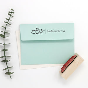 Custom Return Address Stamp — First Names Horizontal