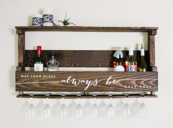 Large Wood Wine Rack — May Your Glass Always Be Half Full