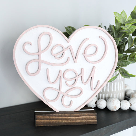 3D LOVE YOU Valentine Shelf Sitter
