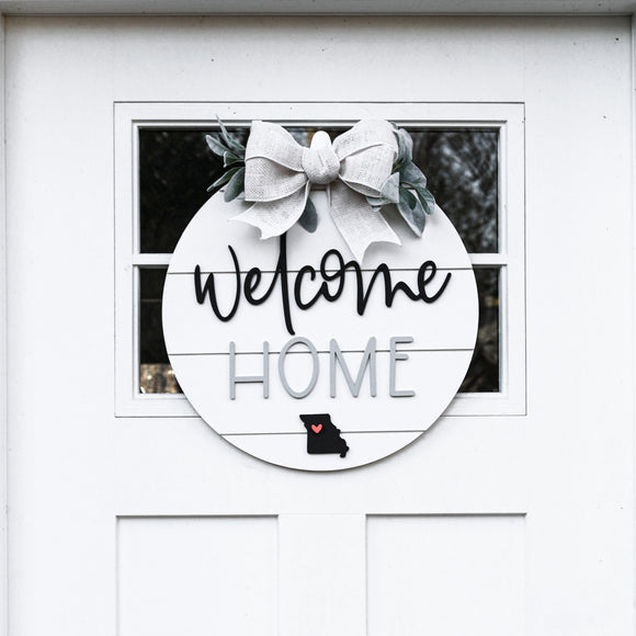 3D Welcome Home Shiplap Sign — State and Heart