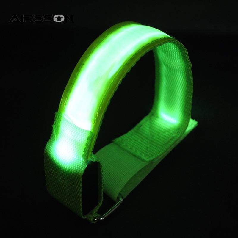 2 Brassards LED stroboscopes - 2 Brassards Verts - GyroRideRz