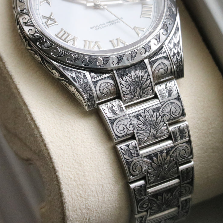 "ULTRA RARE Hand-Engraved Rolex DateJust41 ""White Roman"" Ref 126300 (1 of 1)"