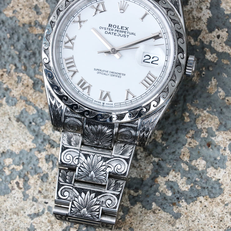"Hand-Engraved Rolex DateJust41 ""White Roman"" Ref 126300 (1 of 1)"