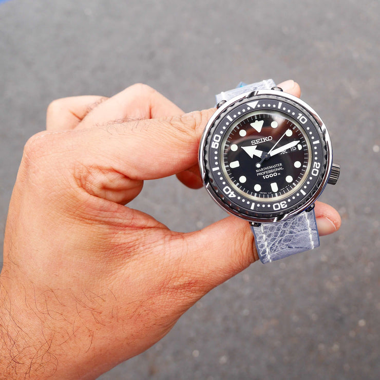 "Seiko ""Platinum Tuna"" MM1000 SBBN029 on grey leather"