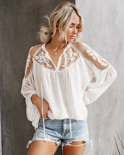 Fashion Havana  Long-sleeved Lace Chiffon Shirt