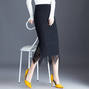 Knitted Lace Pencil Skirt