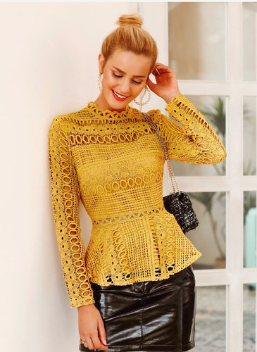 Lace Hollow Out Peplum Blouse