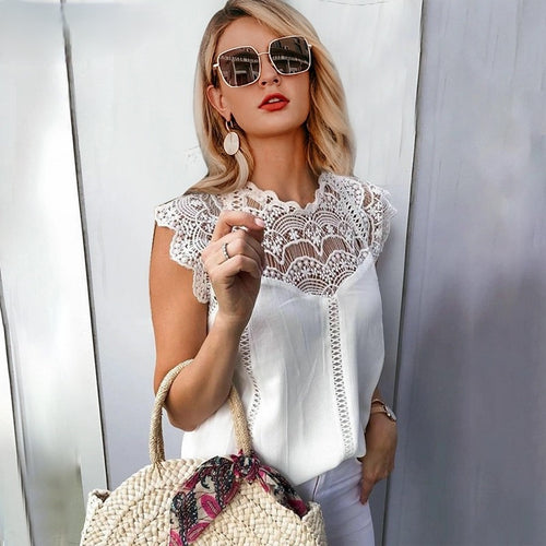 Elegant Embroidery White Lace Top