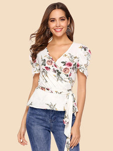 White Print Elegant Sashes  Blouse