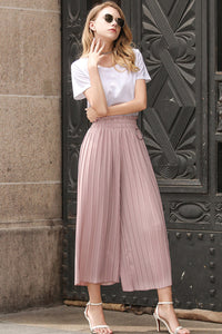Linen Pleated Stretchy Waist Wide Leg Pants
