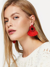 Load image into Gallery viewer, Tassel Hoop Drop Earrings 1 Pair