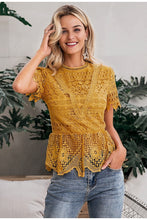 Load image into Gallery viewer, Elegant Lace Yellow Blouse