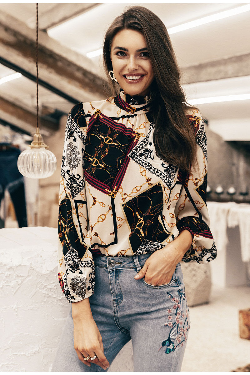 Fashion Havana  Frilled Neck Chain  Long Sleeve Vintage Blouse