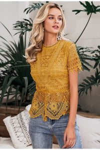 Elegant Lace Yellow Blouse