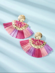 Fan Tassel  Earrings 1 Pair