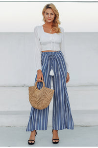 High Waist Sashes Tassel Pleated  Cotton Linen Pants