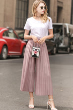 Load image into Gallery viewer, Linen Pleated Stretchy Waist Wide Leg Pants