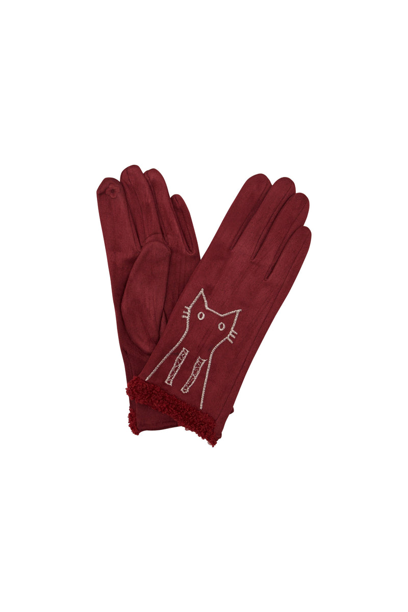 Kitten Embroidered Gloves