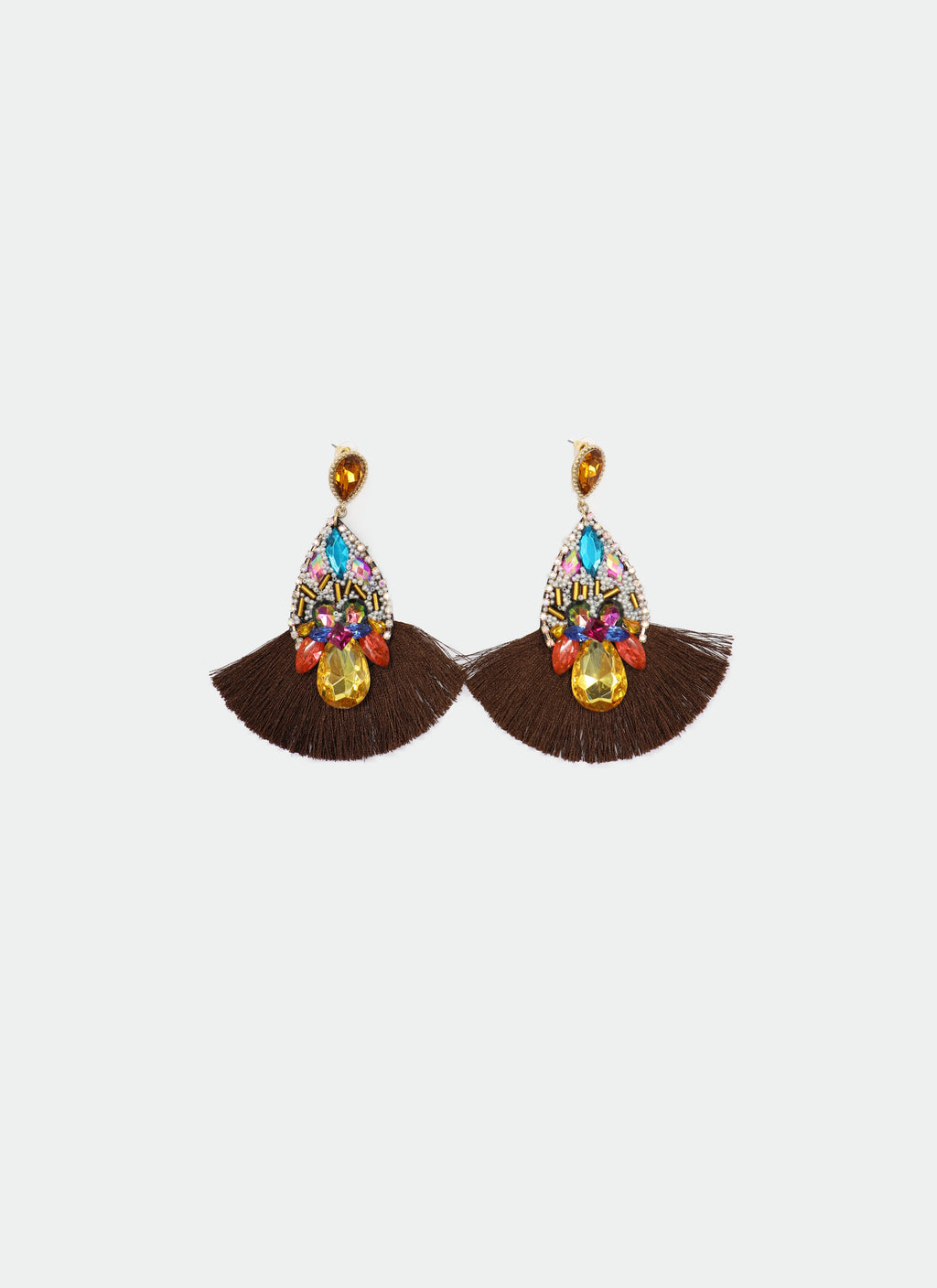 Brown Tiered Fringe Earring