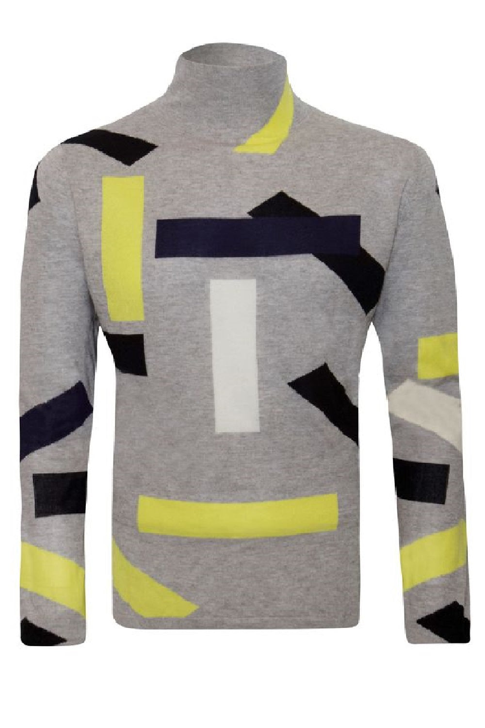 Unisex Cashmere Block Turtle Neck Grey