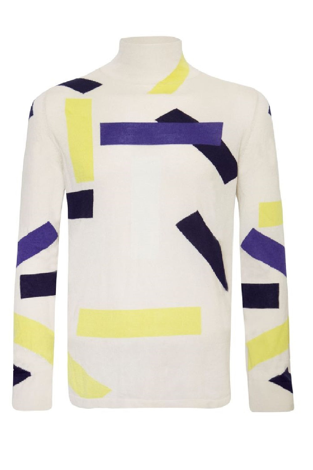 Unisex Cashmere Block Turtle Neck Cream
