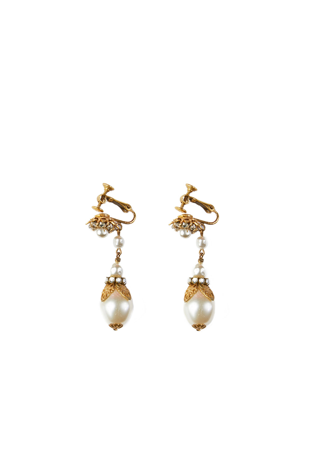 Pearl Long Drop Vintage Earrings