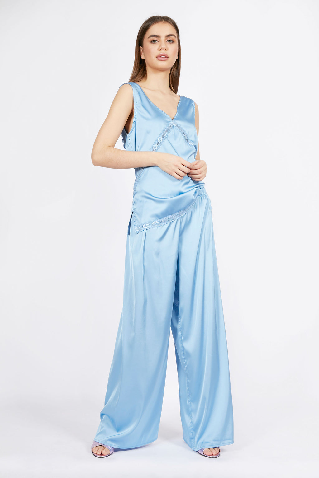 Vintage Inspired Light Blue Satin Trousers
